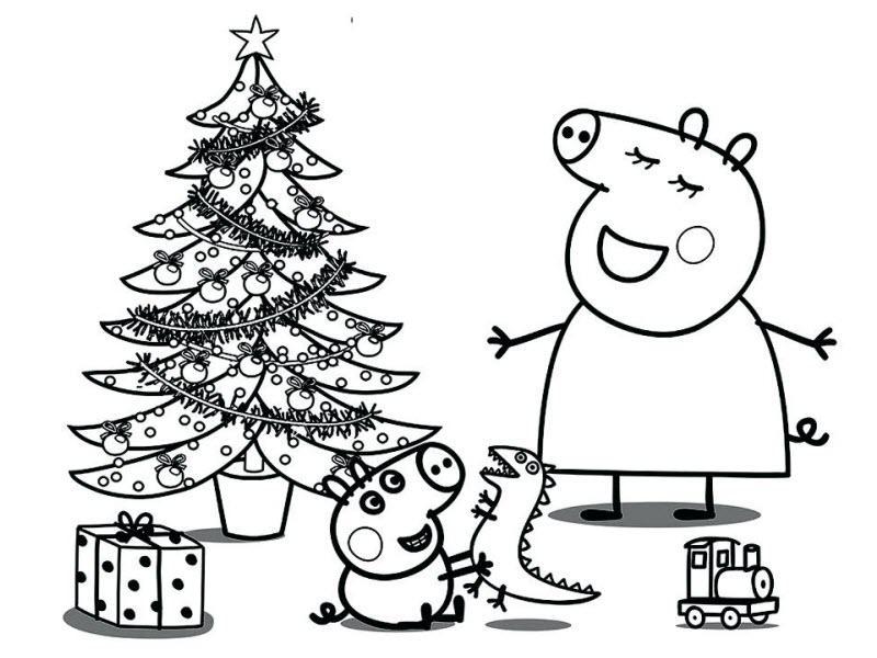 мама свинка и Джордж наряжают елку