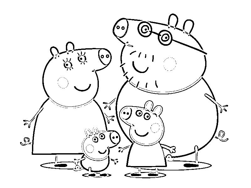 Раскраска свинка Пеппа и ее семья