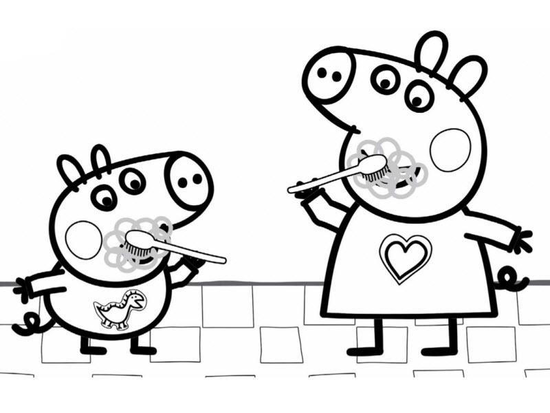 свинка пеппа и джордж чистят зубы