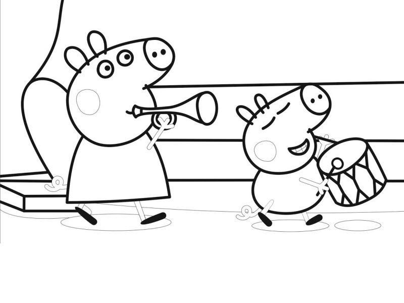 Пеппа и Джордж играют на музыкальных инструментах