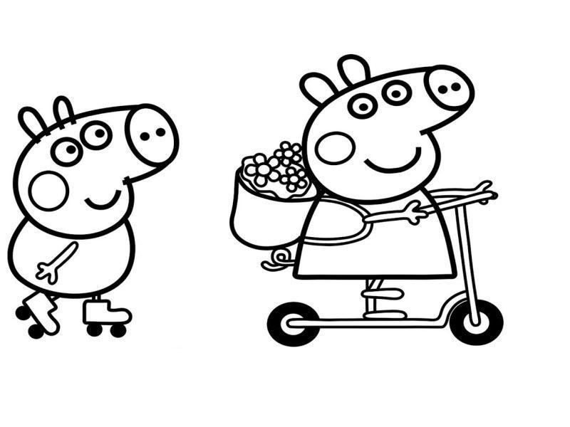 Свинка Пеппа и ее брат Джордж катаются