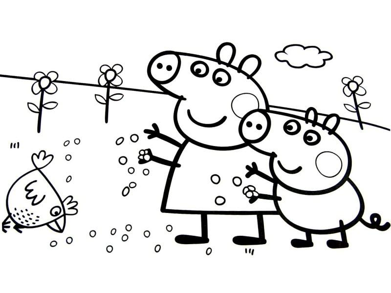 Джордж и Пеппа кормят курочек