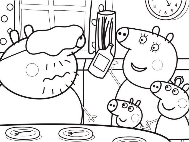 свинка пеппа и ее семья обедают
