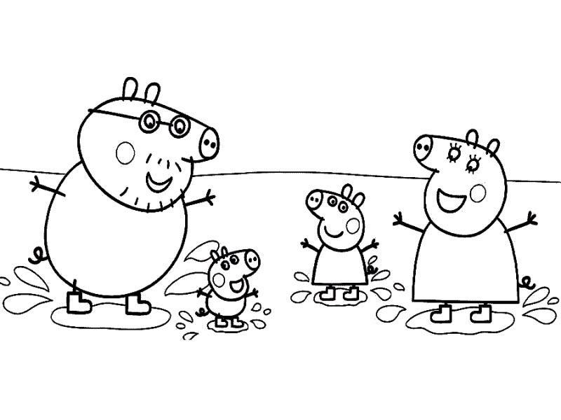 Пеппа и ее семья прыгают в грязи