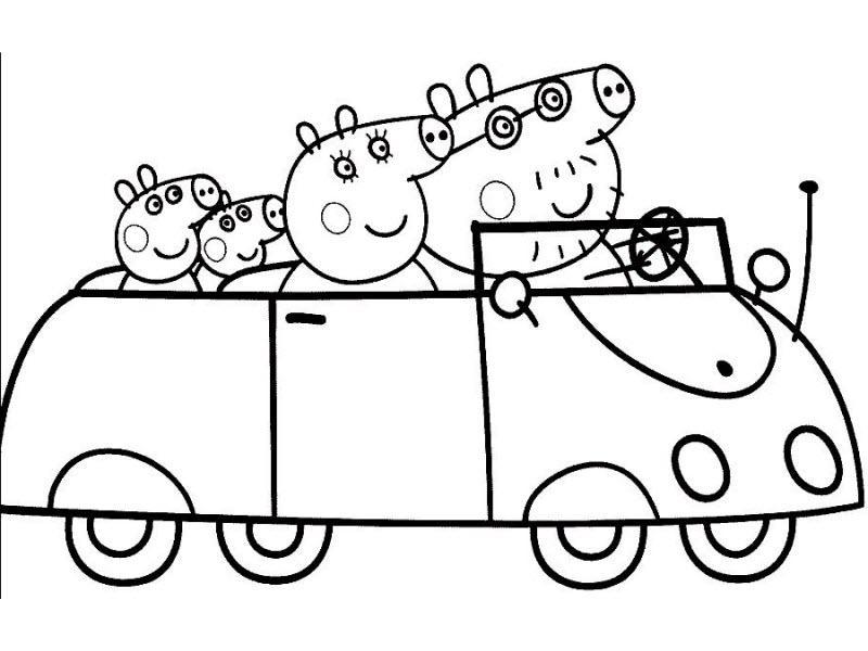 Пеппа с семьей едут на машине