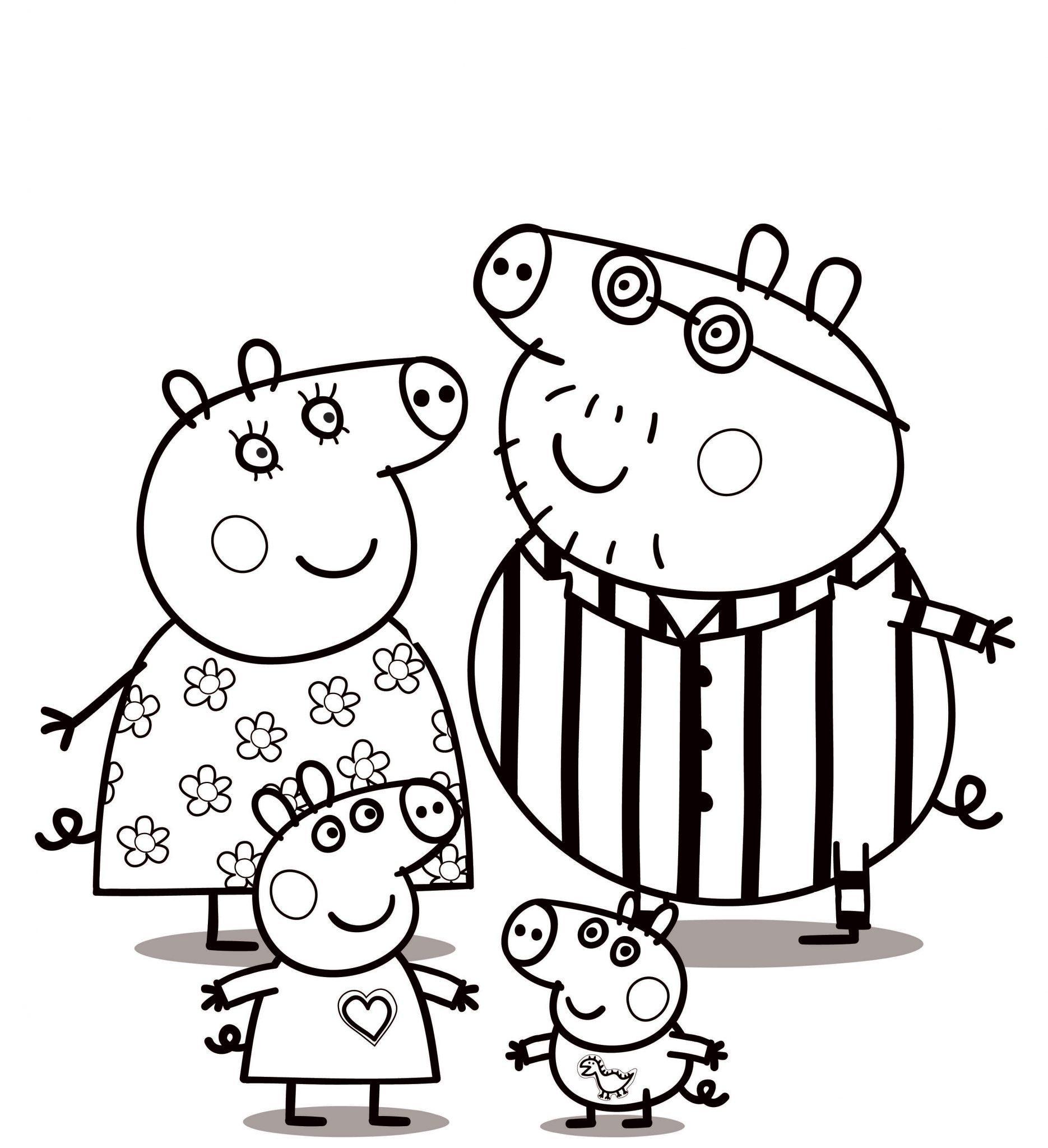 семья свинки пеппы раскраска распечатать бесплатно формат а4