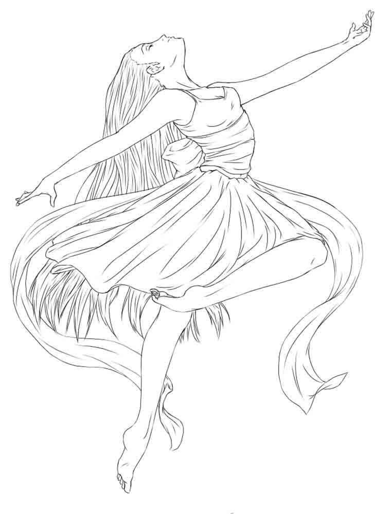 балерина черно белая раскраска