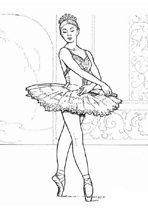 балерина картинка раскраска