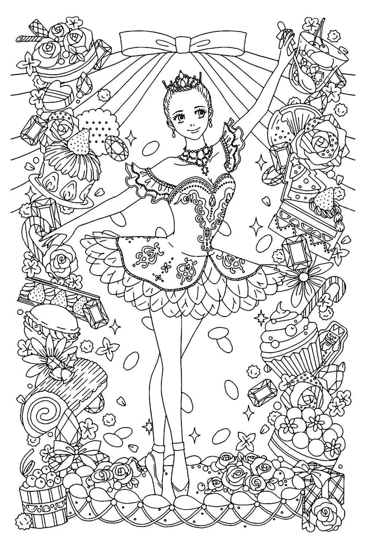 балерина рисунок раскраска
