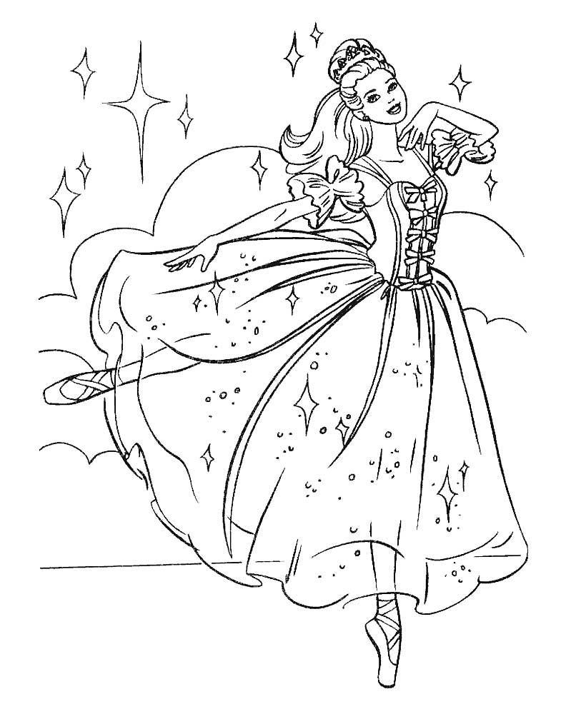 барби балерина раскраска распечатать