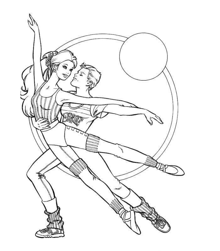 барби гимнастка раскраска