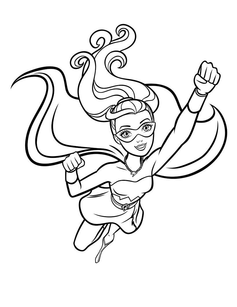 барби супергерой раскраска