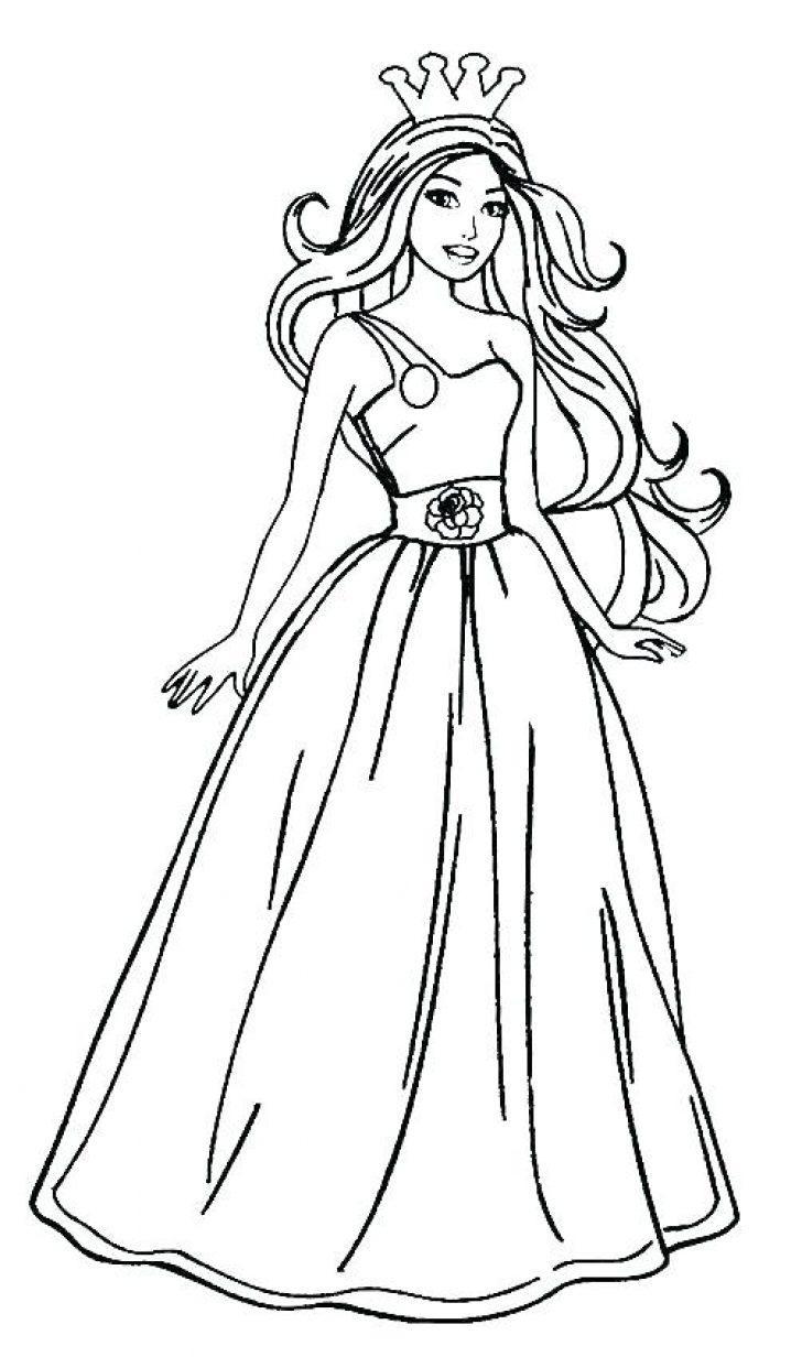 барби в бальном платье раскраска