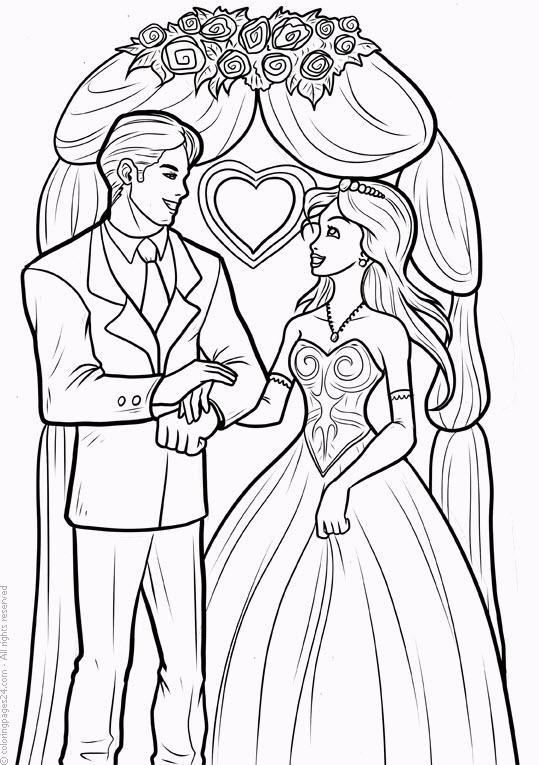 барби свадьба раскраска