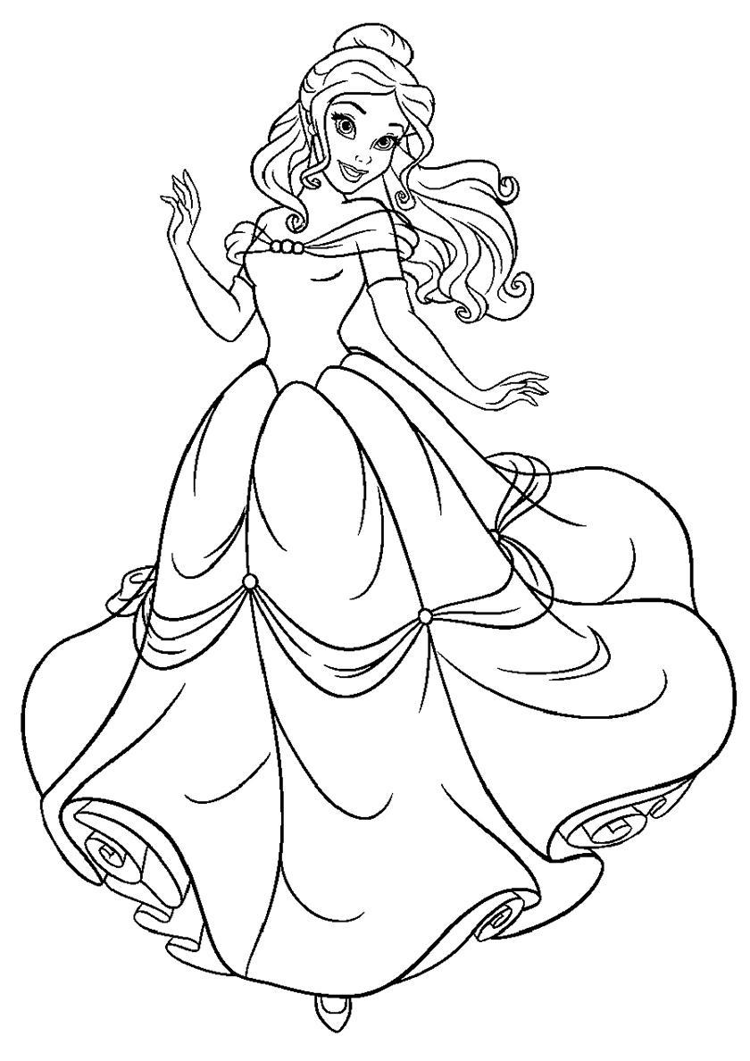 раскраски принцессы дисней распечатать бесплатно белль