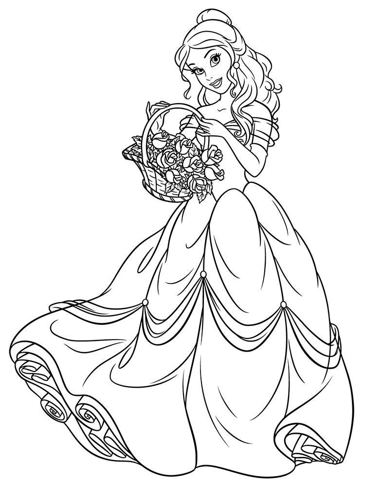 раскраски принцессы дисней распечатать бесплатно бель с цветами