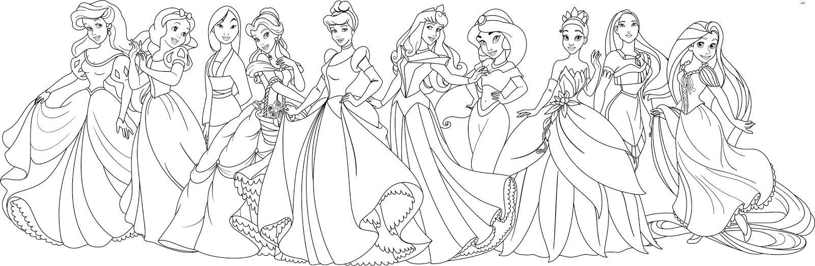 раскраски принцессы дисней распечатать бесплатно 10 принцесс