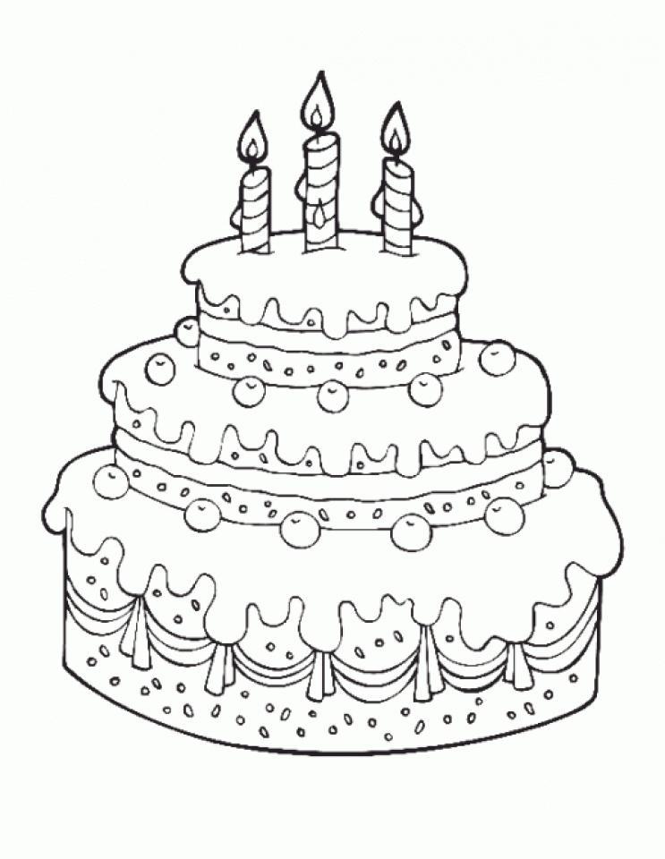 картинка торт для детей раскраска