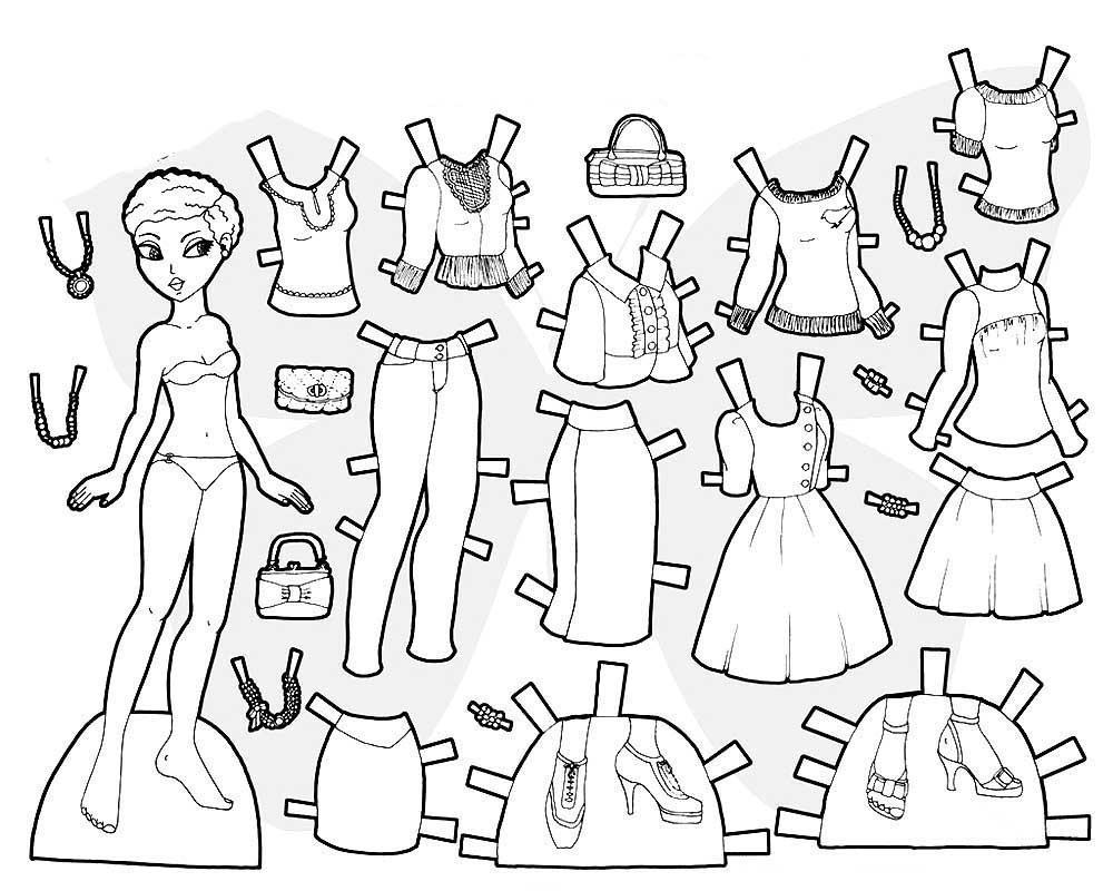 картинки раскраски куклы с одеждой