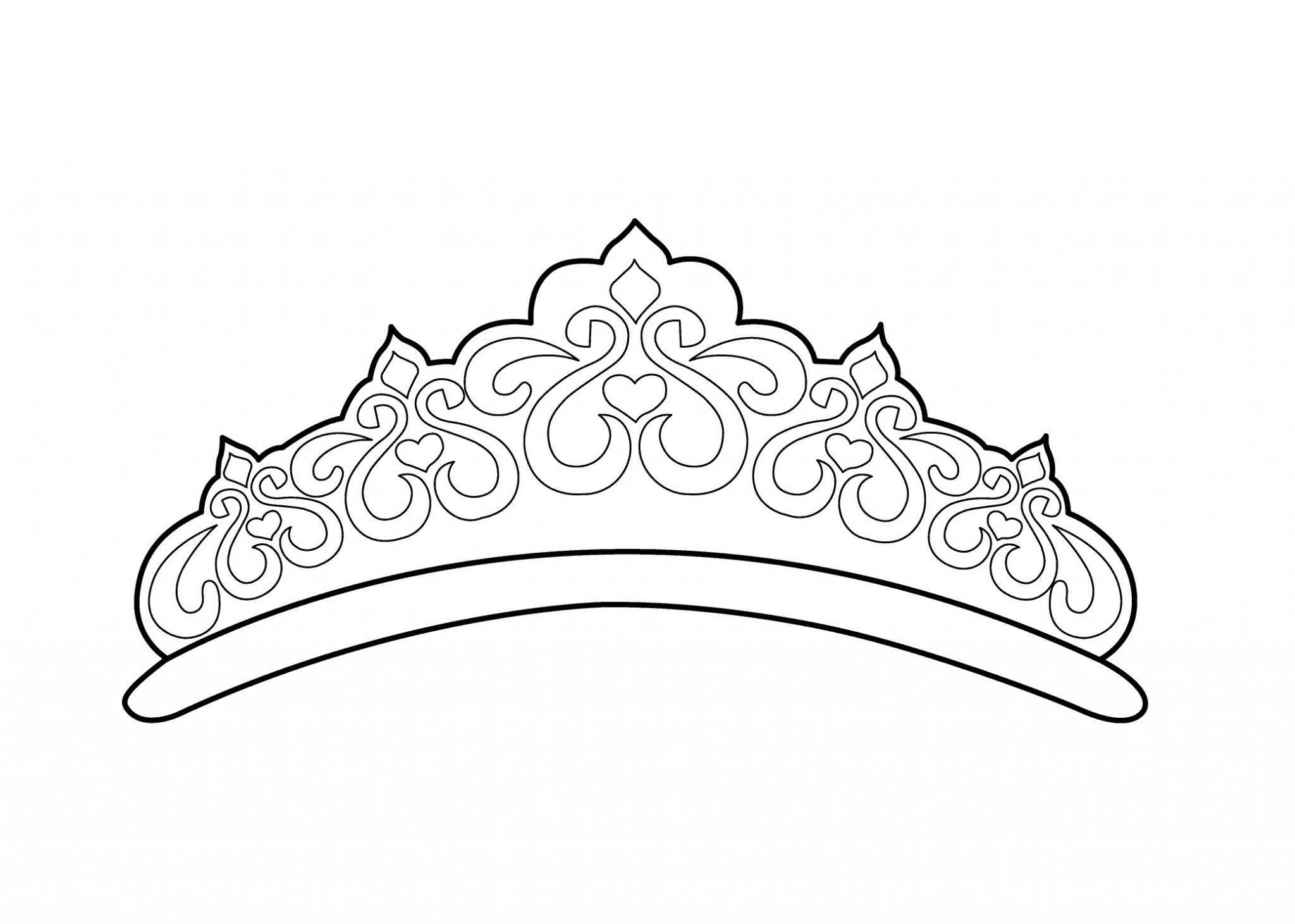 корона раскраска диадема из фомирана для девочки распечатать