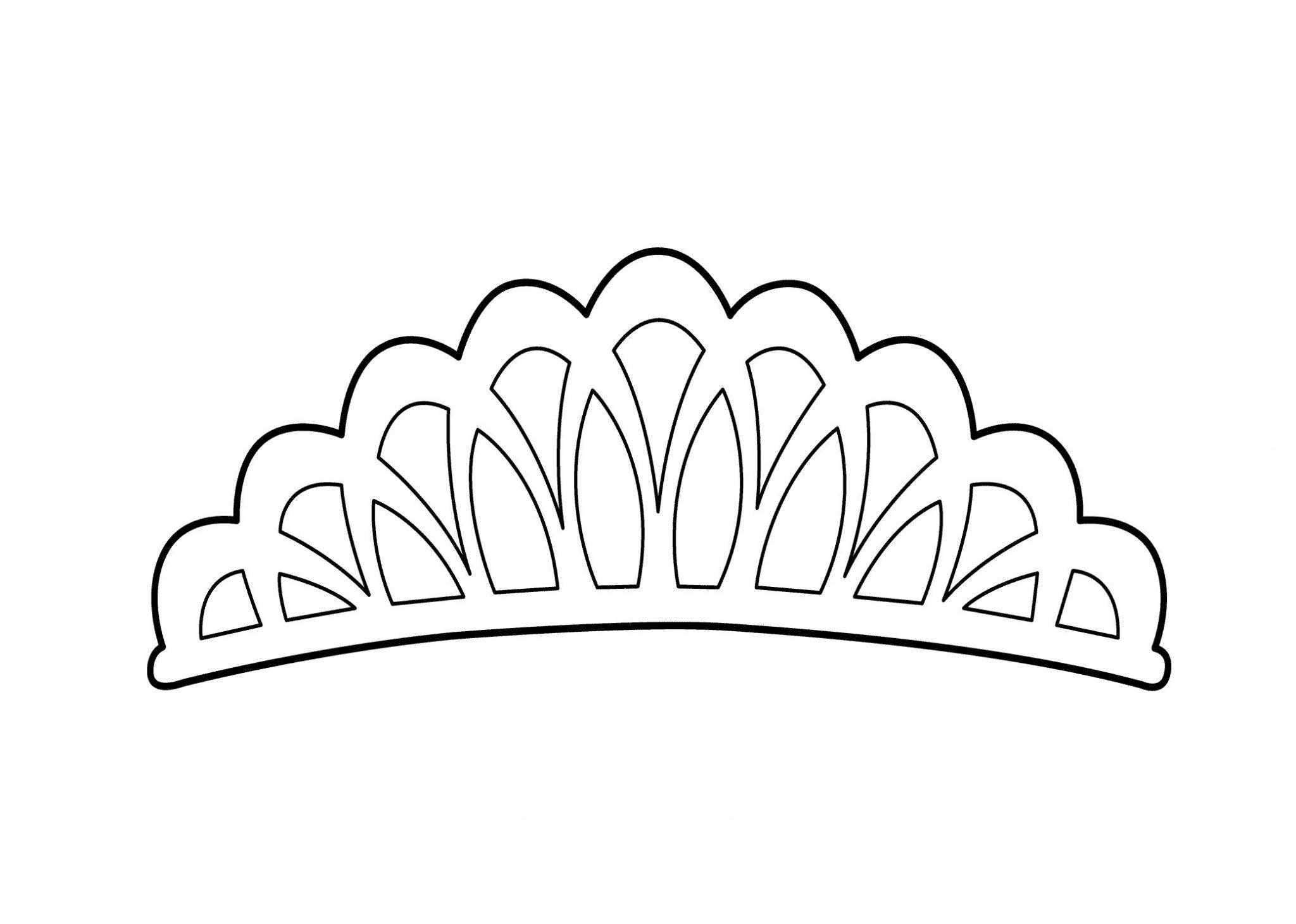 корона раскраска трафарет диадема принцессы распечатать