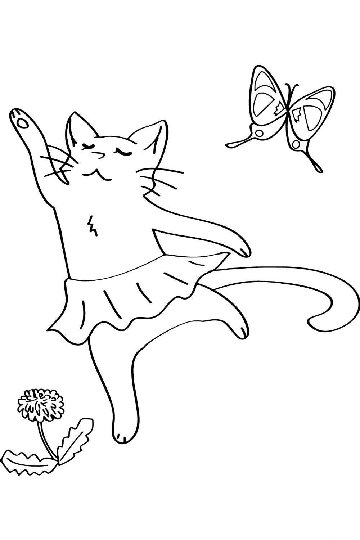 кошка балерина раскраска