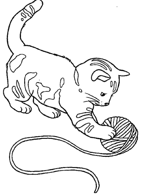 котенок с клубком раскраска