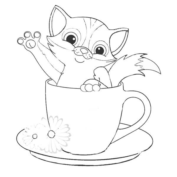 котенок в кружке раскраска