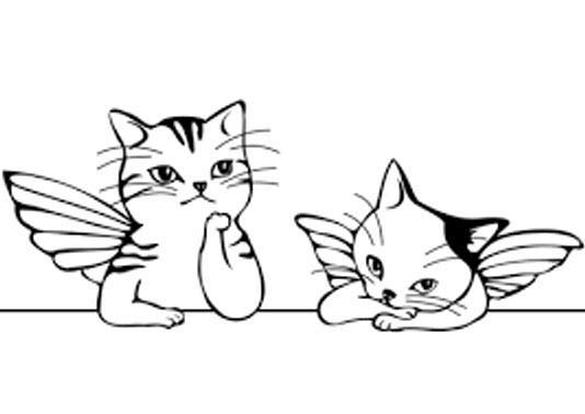 котята с крыльями раскраска
