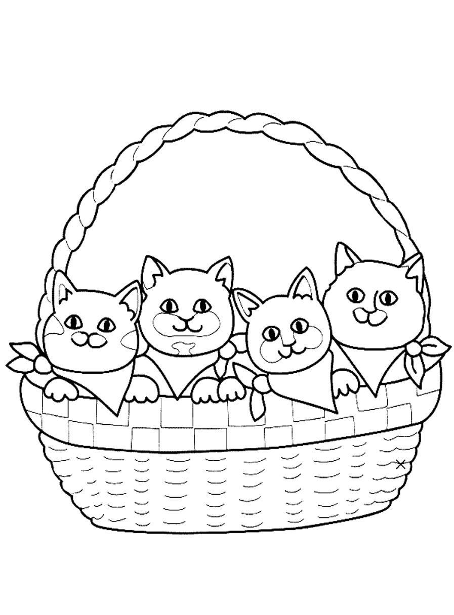 котята в корзинке раскраска