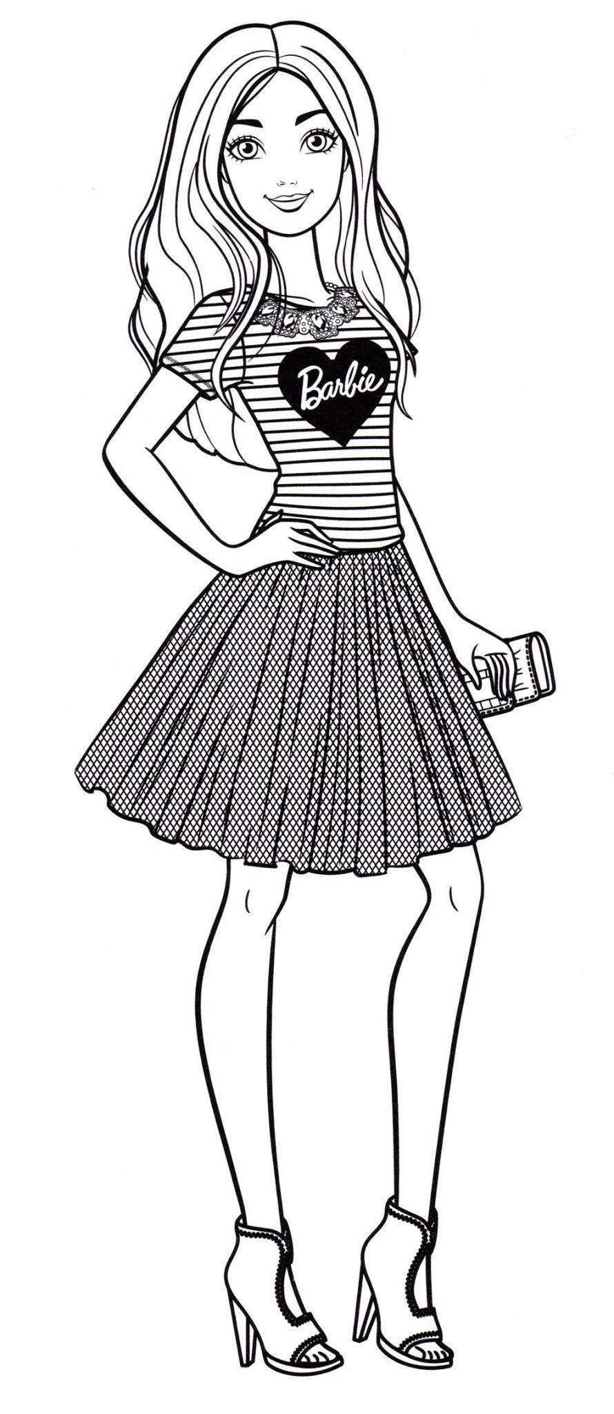 Раскраска Барби распечатать бесплатно, формат а4
