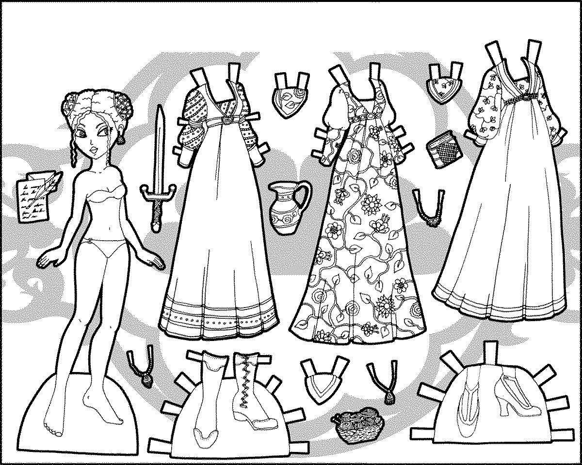 кукла из бумаги с одеждой раскраска