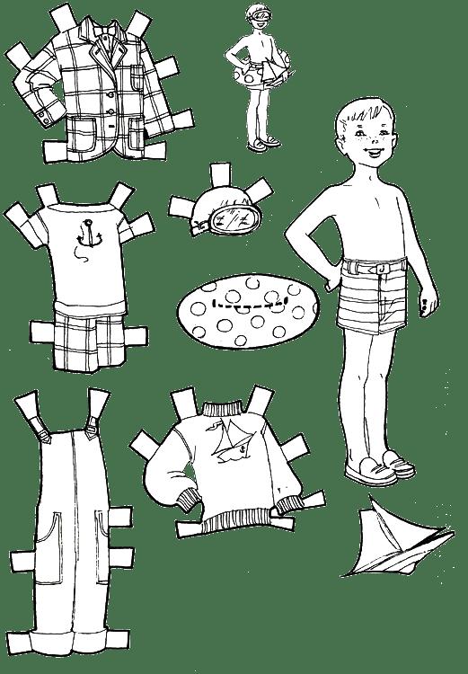 куклы мальчиков раскраски с одеждой для вырезания