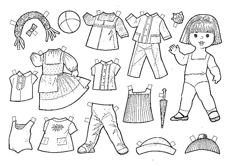 Раскраски куклы с одеждой для вырезания