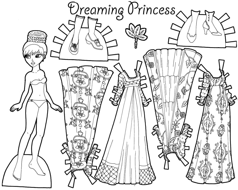Раскраски куклы с одеждой для вырезания для девочек ...