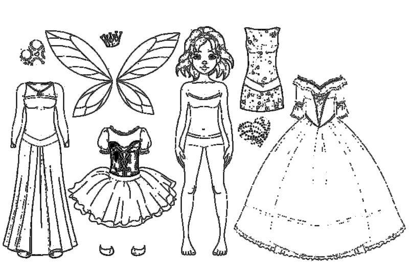 куклы вырезалки с одеждой раскраски