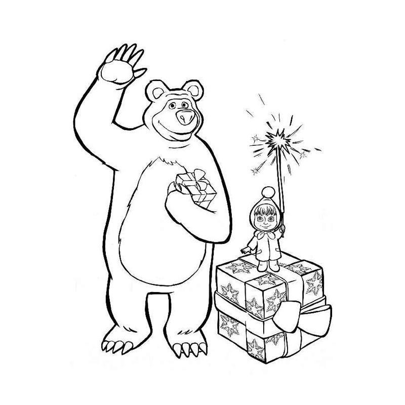 новые раскраски для девочек Маша и Медведь