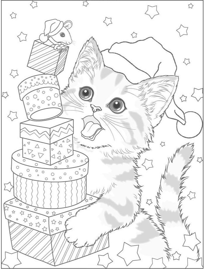 новогодний котенок раскраска