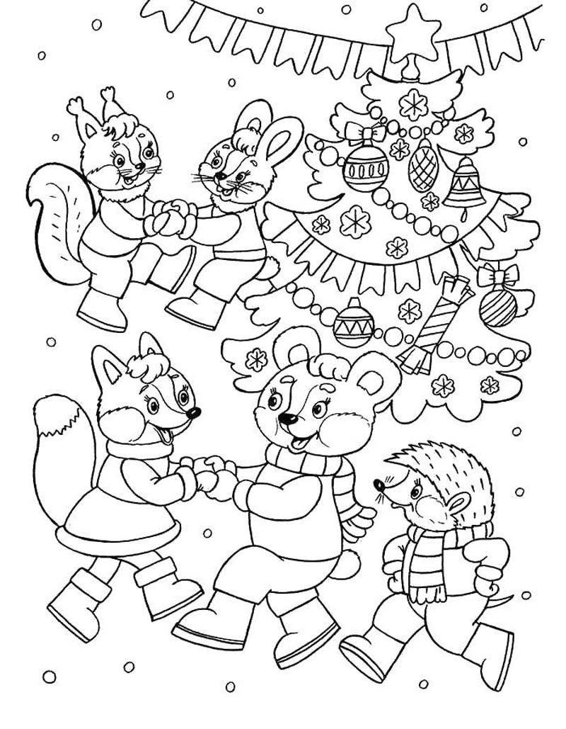 новогодний маскарад раскраска