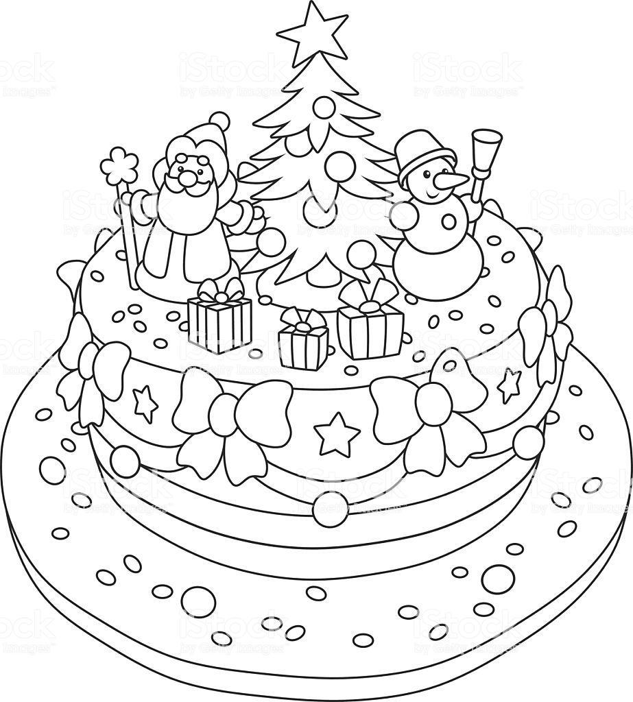 новогодний торт раскраска распечатать