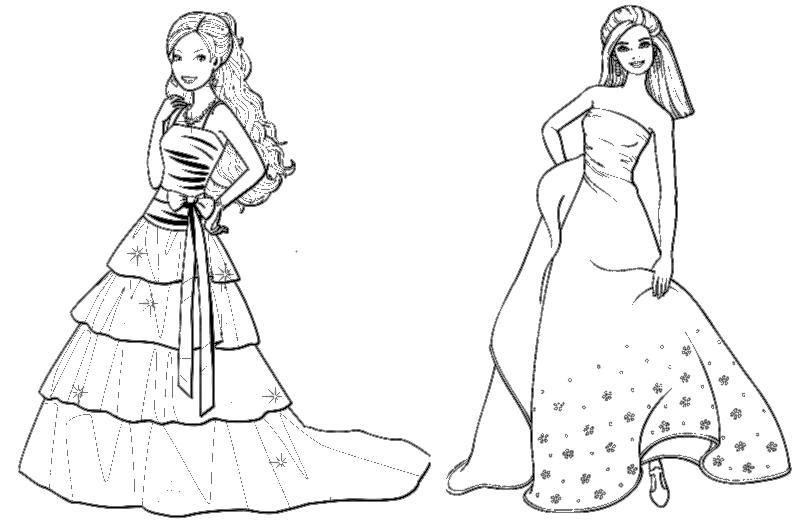 новые раскраски барби в красивых платьях