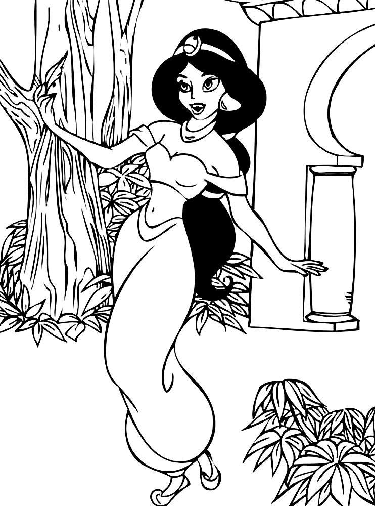 раскраски принцессы дисней распечатать бесплатно принцесса алладина