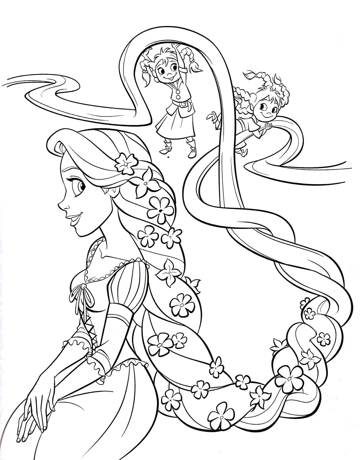 раскраски принцессы дисней распечатать бесплатно принцесса с косой