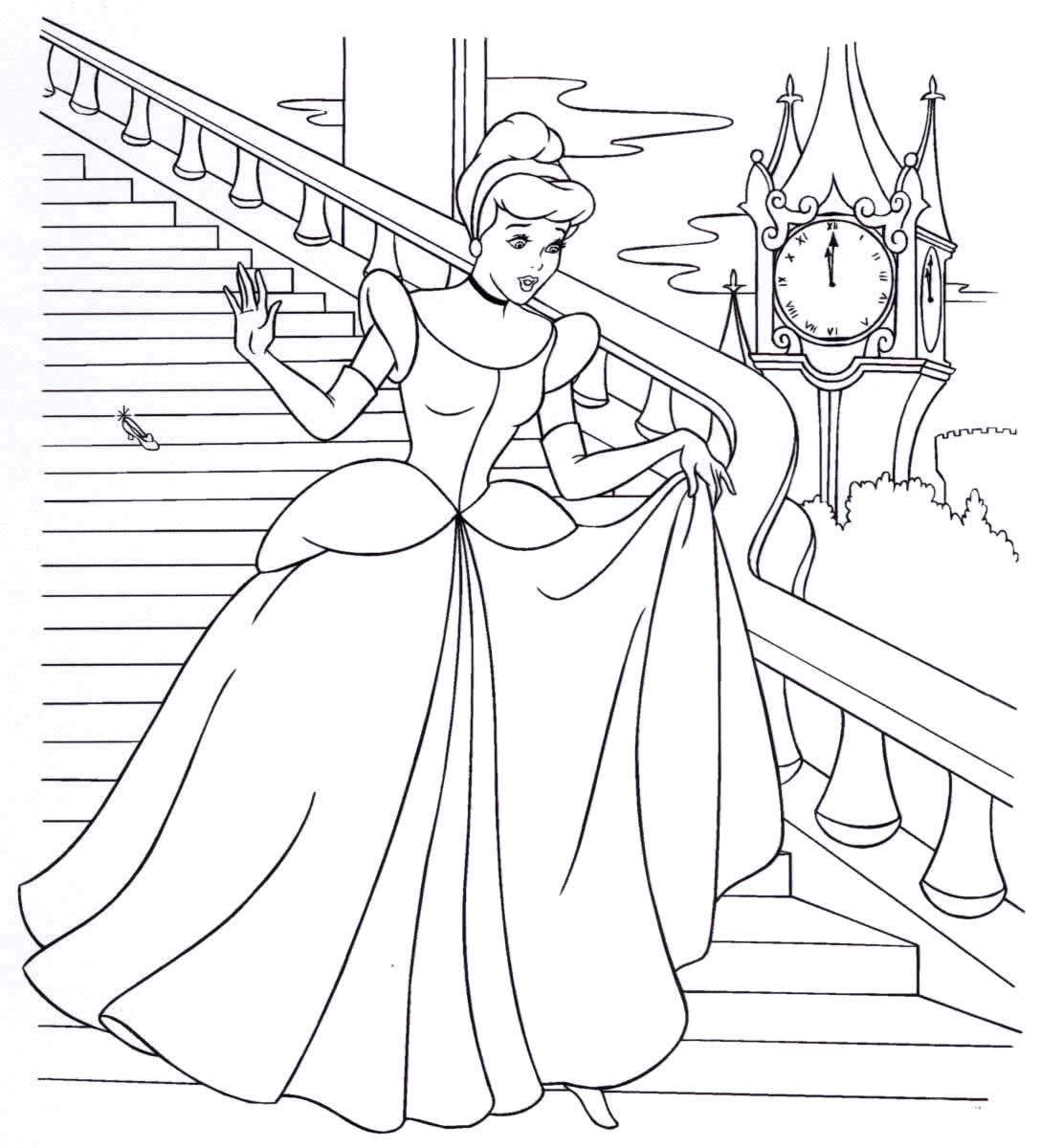 раскраски принцессы дисней распечатать бесплатно золушка