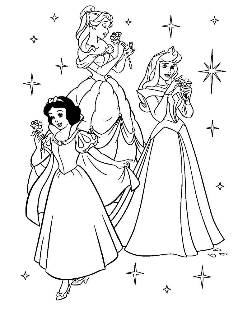 раскраски принцессы дисней распечатать бесплатно три принцессы
