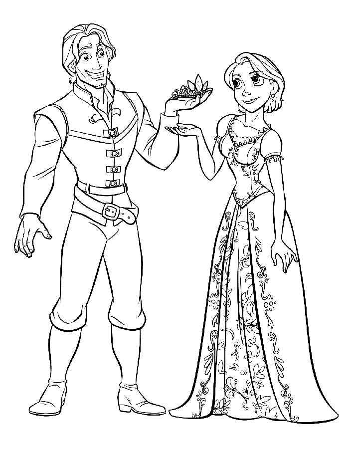 раскраски принцессы диснея распечатать бесплатно формат а4 рапунцель выходит замуж