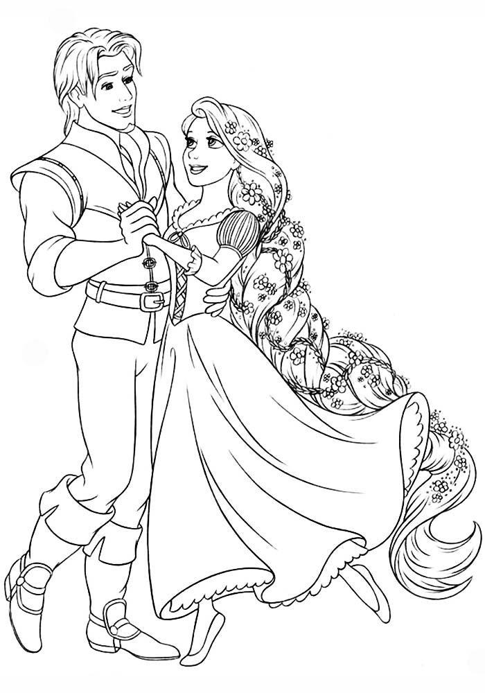 раскраски принцессы диснея распечатать бесплатно формат а4 рапунцель