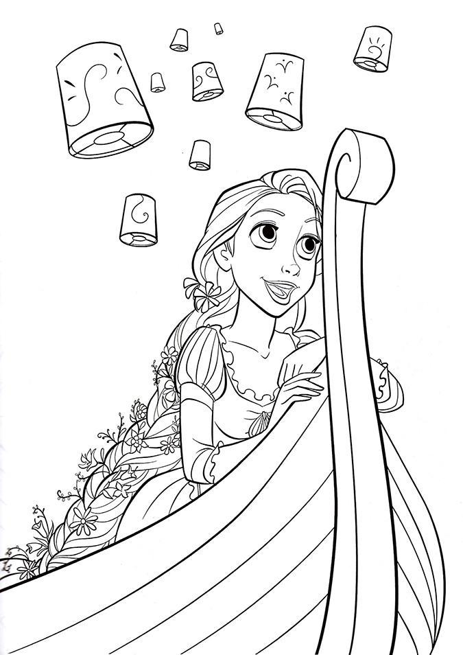 раскраски принцессы диснея распечатать бесплатно формат а4 рапунцель в лодке