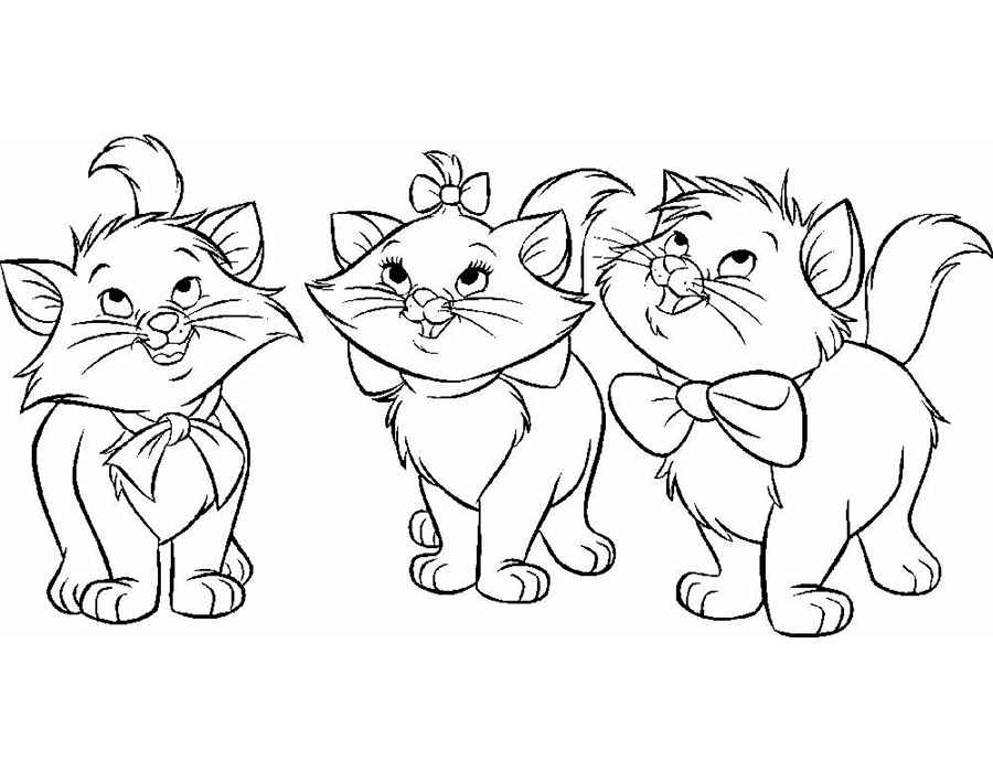 раскраска 3 котенка