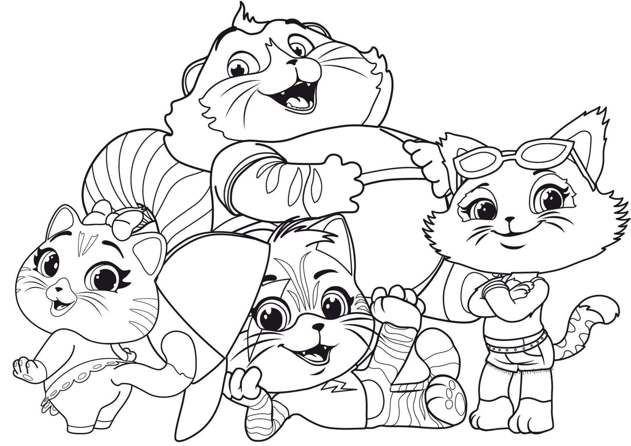 раскраска 44 котенка распечатать